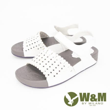 W&M (女) 鏤空厚底彈力涼鞋 女鞋 -白(另有灰)