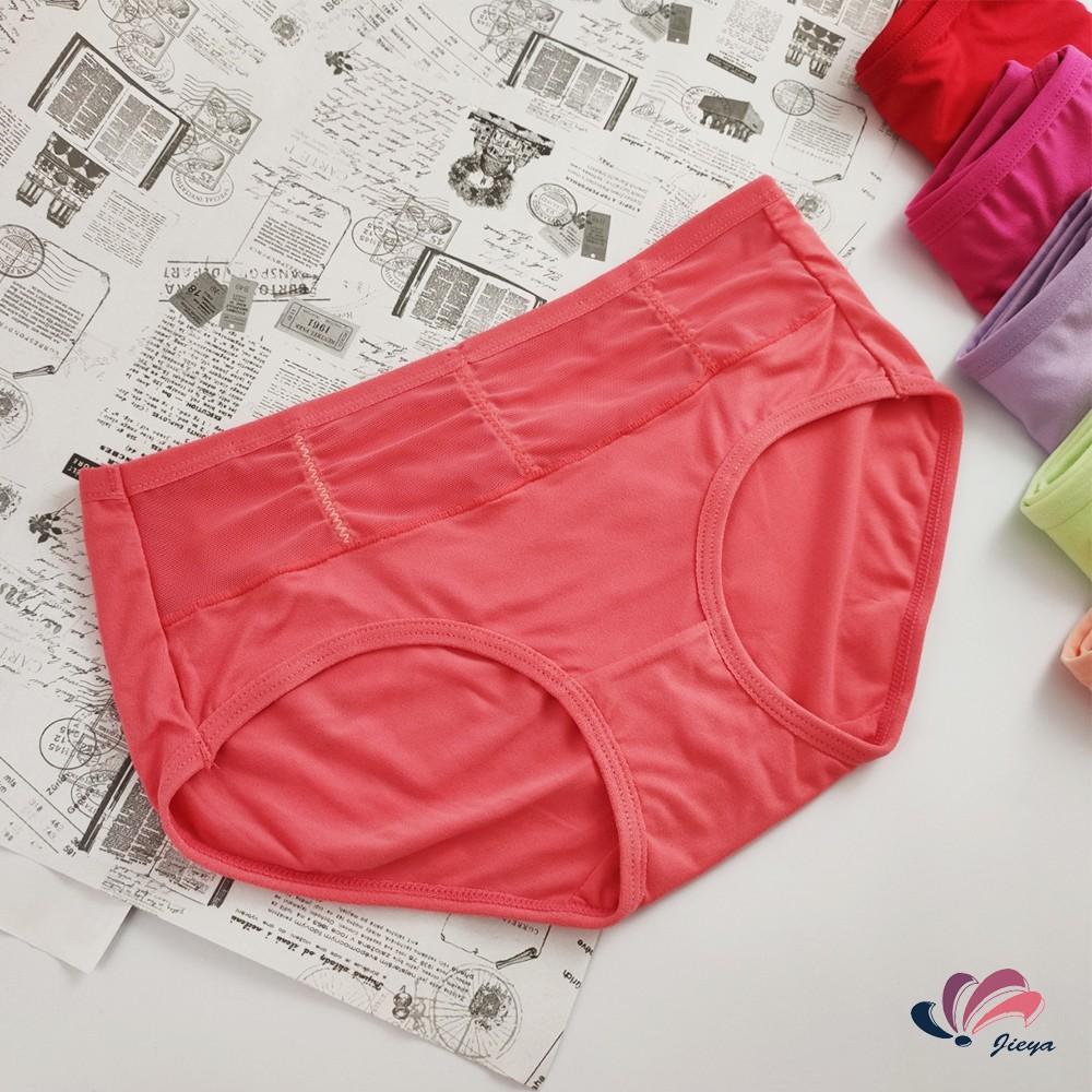 【現貨秒出】素色半網紗彈性中低腰女內褲A22001 簡約甜美糖果糖衣色