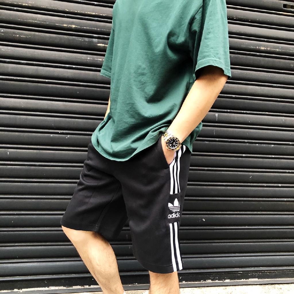 adidas 3-Stripe 三葉草 三線 短褲 黑 百搭三線 大LOGO adidas 休閒短褲 運動 棉短褲