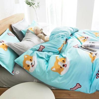 3-HO 雪紡棉 單人床包/枕套 二件組 小愛小狗