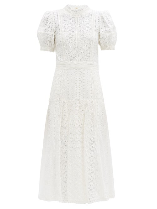 Self-portrait - Open-back Broderie-anglaise Cotton Dress - Womens - White