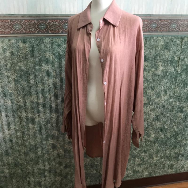 全新-粉色棉麻長版外罩衫