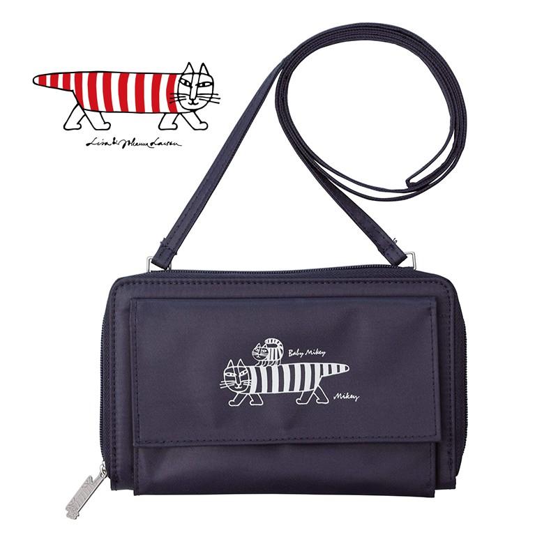wbar☆日本原裝LISA LARSON深藍色多功能收納側背包 條紋貓咪斜背包 單肩包 肩背包 收納包 手機包