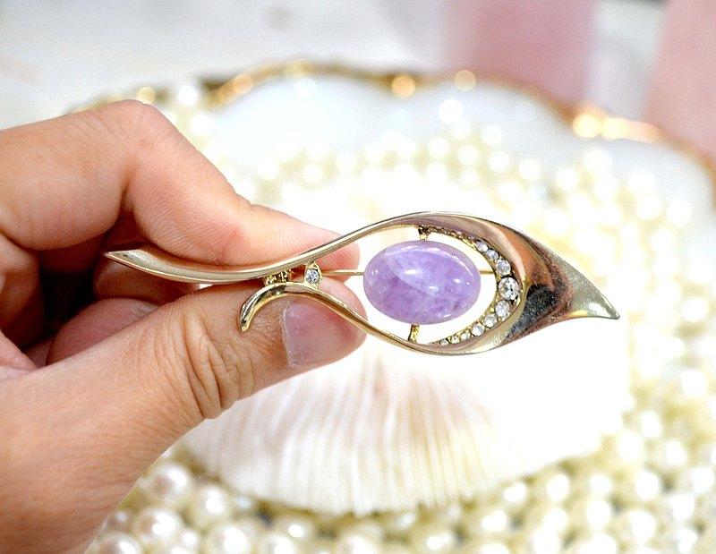 紫水晶石鍍金水鑽羽毛胸針 貴婦淑女 日本高級二手古著珠寶首飾