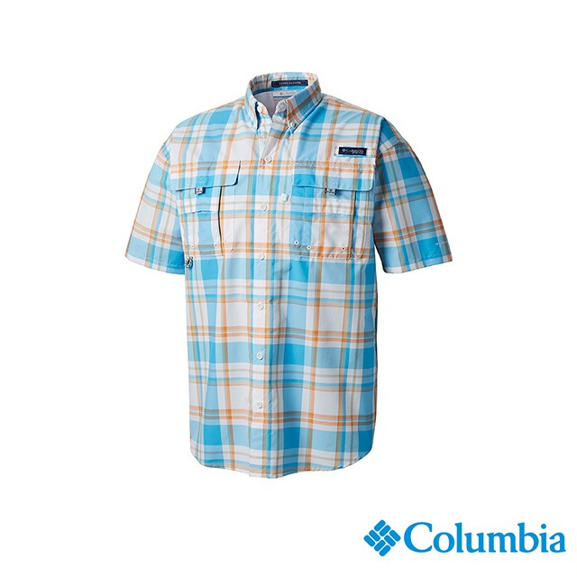Columbia哥倫比亞 男款-UPF30短袖襯衫-藍色格紋 UFM71900BC