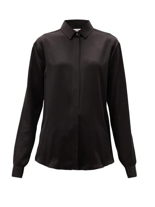 Saint Laurent - Point-collar Silk-satin Blouse - Womens - Black