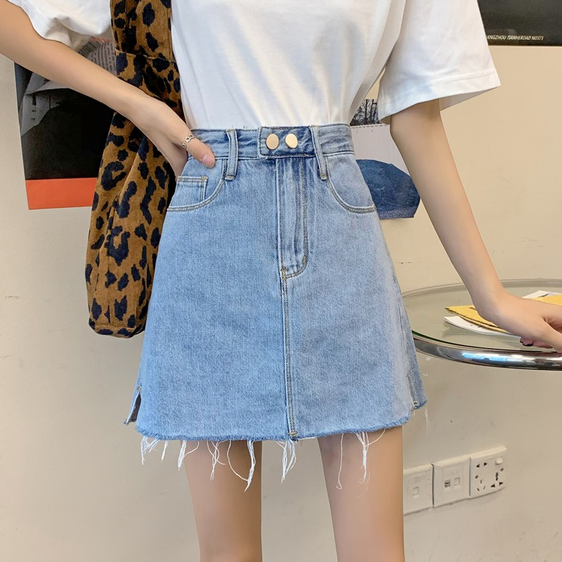 牛仔短裙女簡約淺色雙扣剪邊半身裙牛仔裙