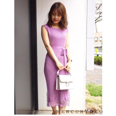 MERCURYDUO 寬羅紋針織拼接蕾絲洋裝(2色)