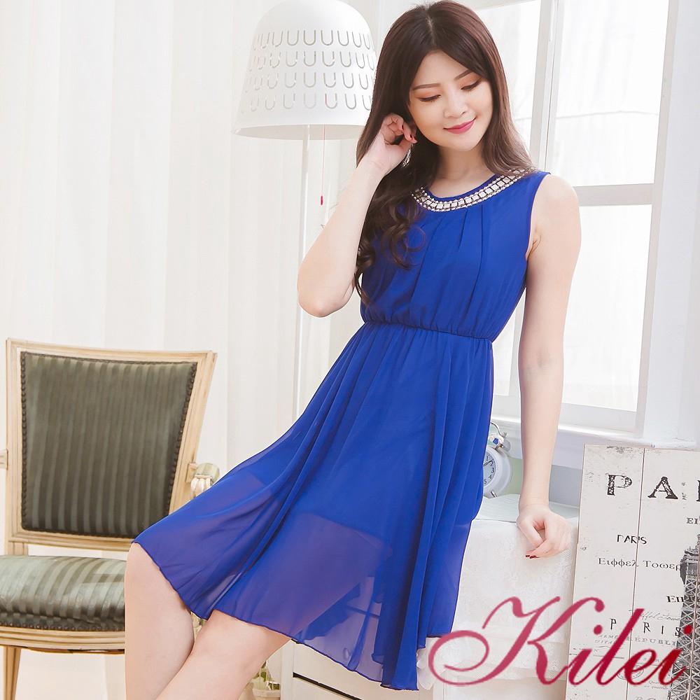 Kilei 清新風珠領造型抓折及膝雪紡背心洋裝XA3521-01(典雅彩藍)全尺碼 廠商直送 現貨
