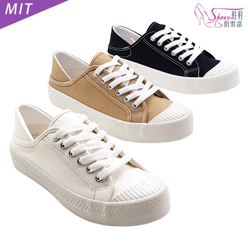 MIT可後踩2穿懶人韓系帆布鞋 餅乾鞋 白/黑/卡其 107-AB9002 鞋鞋俱樂部
