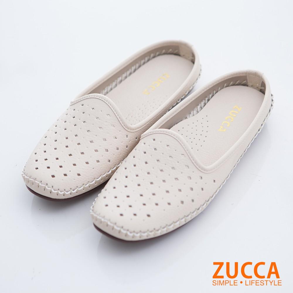 【ZUCCA】縷空透氣休閒拖鞋-z6703we-白