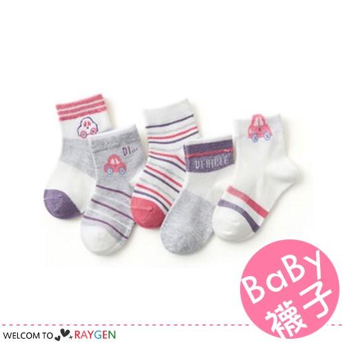 兒童夏季卡通紅車薄款網眼透氣短襪 船襪 5雙/組