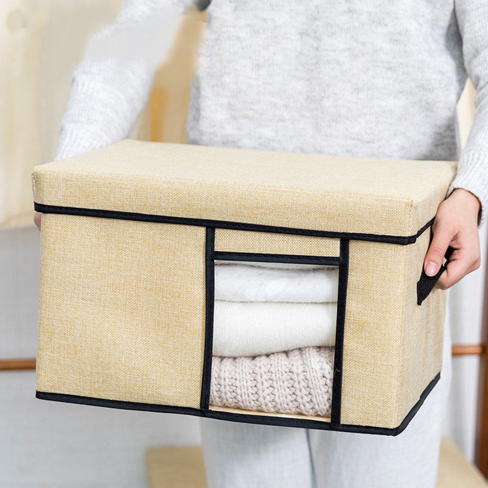 日式透明布質收納箱-米黃色