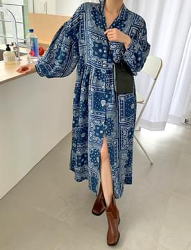 韓國空運 - Paisley Puffron Dress 長洋裝