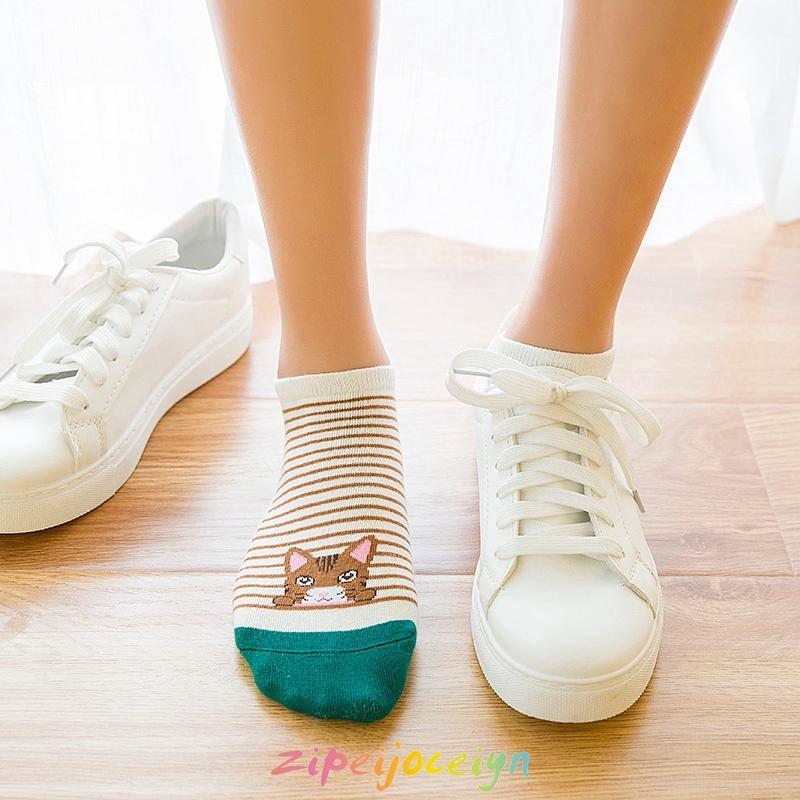 貓咪圖案短襪 超可愛女襪 條紋 襪子 卡通棉襪 AHNC02