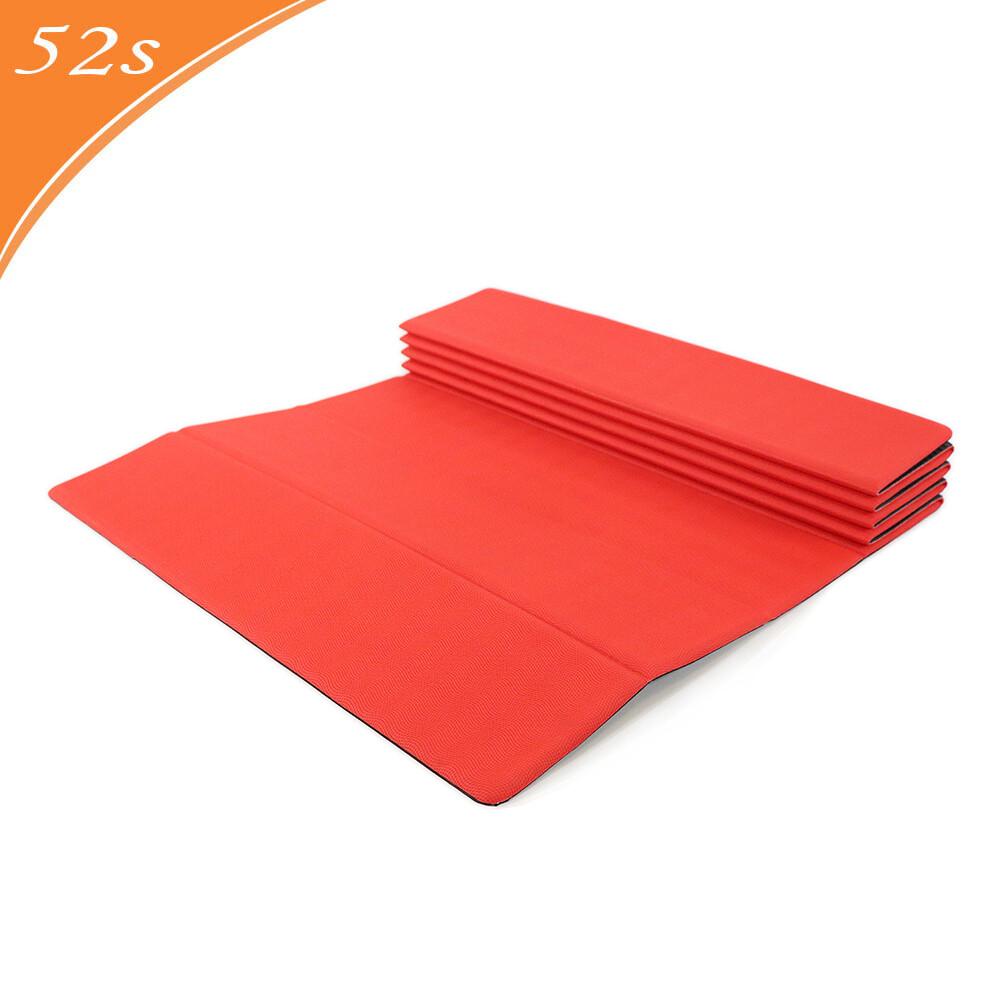 52s 活力紅頂級pu瑜珈摺墊 (附贈收納背袋)
