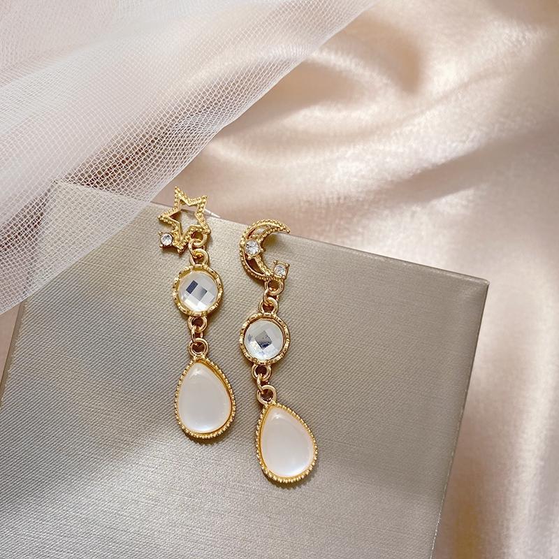 S925銀針韓國新款星星月亮耳釘氣質夾式耳環創意水晶吊墜耳環簡約甜美百搭耳夾A601