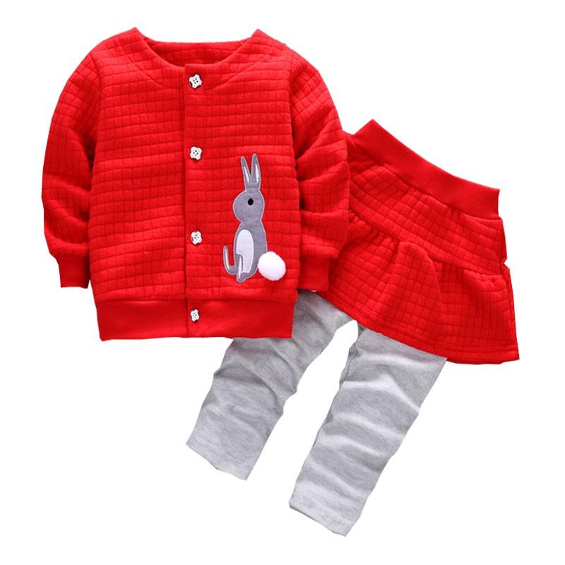 女寶寶 長袖 開襟 上衣+長褲裙 秋裝 套裝 洋裝