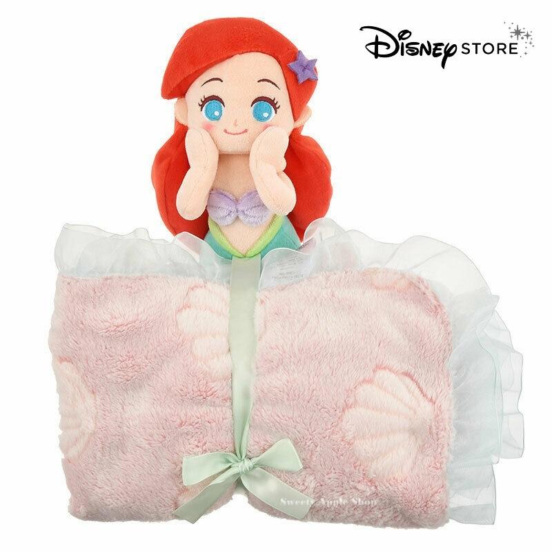 迪士尼【SAS日本限定】迪士尼商店Disney Store 迪士尼公主 小美人魚 愛莉兒 玩偶折疊收納式 毛毯 / 蓋毯