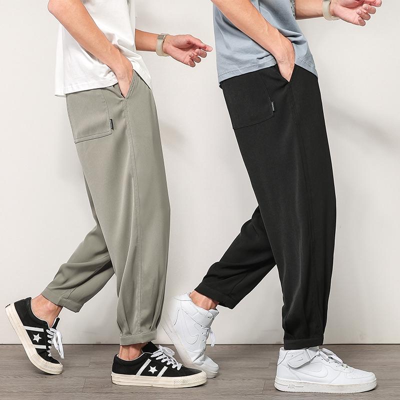 【HOT本鋪】M-5XL 西裝褲 長褲 薄褲子 男生長褲 新款寬鬆長褲 直筒九分褲 休閒褲男 小西褲 冰絲輕薄 大呎碼