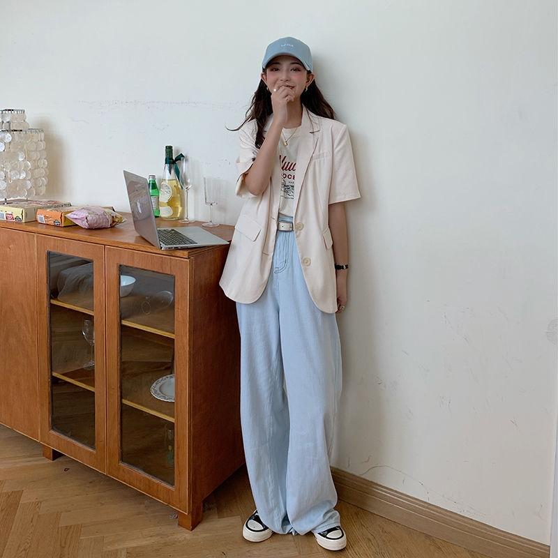 [免運]西裝短袖外套 17758韓版休閒百搭西裝外套薄款氣質chic小