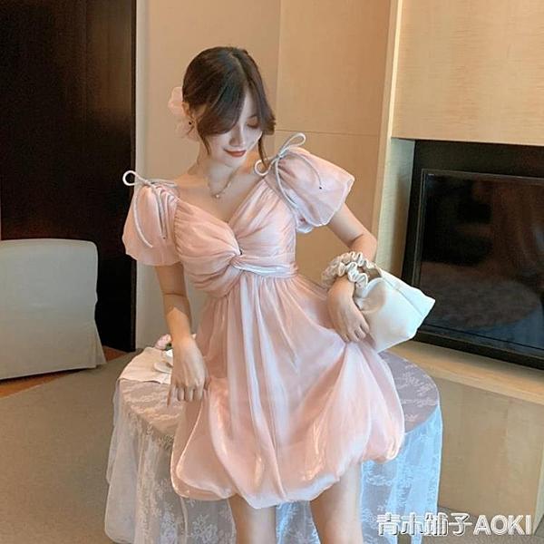 法式蝴蝶結V領泡泡袖光澤感花苞洋裝夏季仙女收腰氣質禮服裙子 青木鋪子