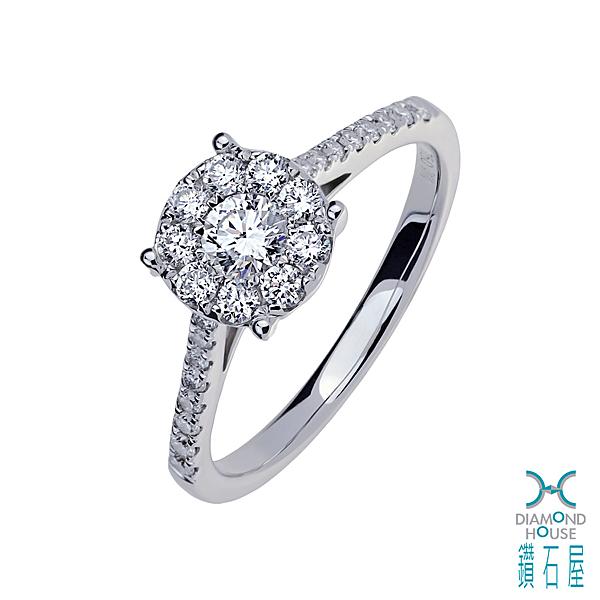 【鑽石屋】白K金鑲鑽戒指