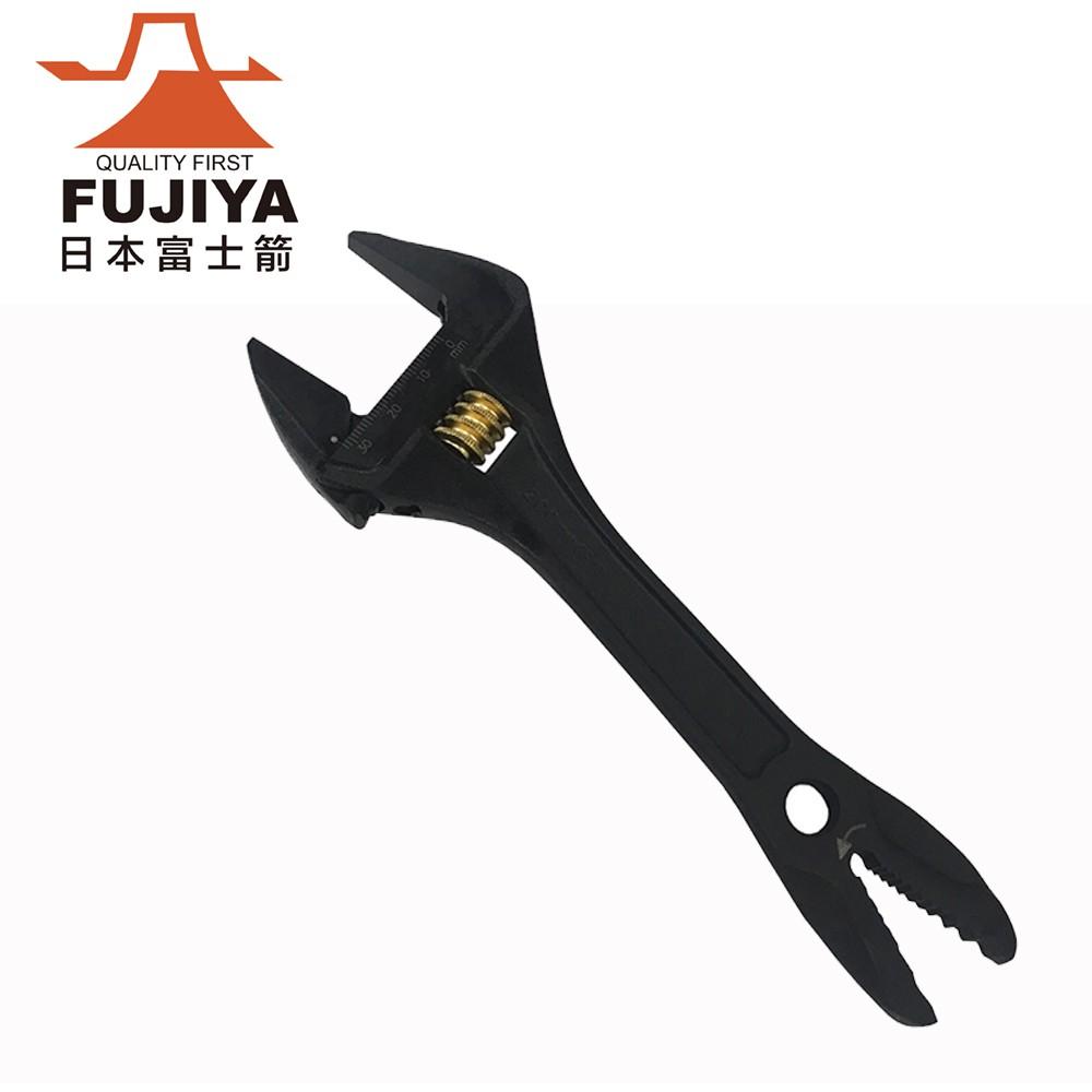 【日本Fujiya富士箭】大開口活動板手32mm x 快速六角螺絲咬合口(黒金系列)