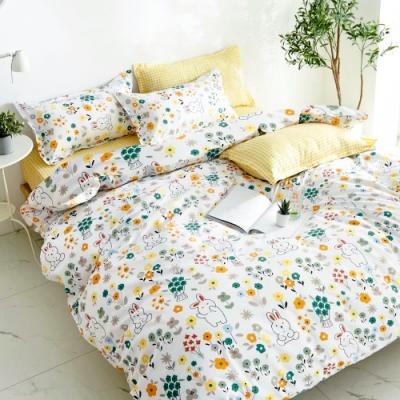 A-ONE 雪紡棉 雙人加大床包/枕套 三件組- 尋找小兔