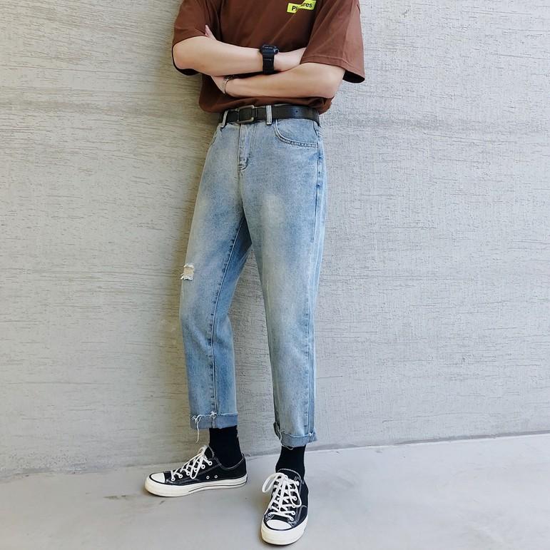 時尚男友褲 男生衣著 修身牛仔褲 小腳牛仔褲 破洞牛仔褲(YM907)【FIZZE】