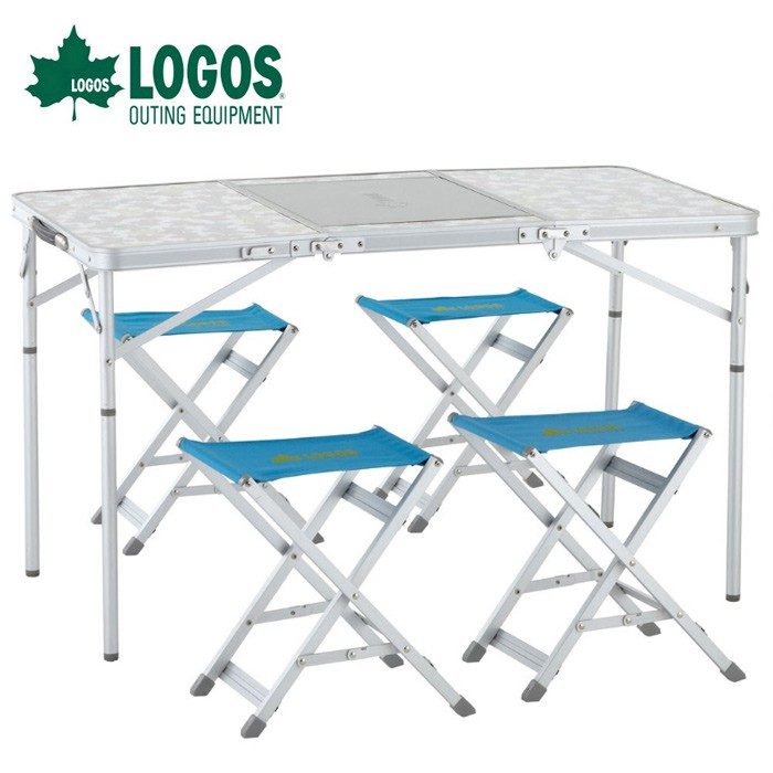 【LOGOS 日本】繽楓一桌4椅組-兩段高度 烤肉桌 露營桌 行動廚房 (LG73183005)
