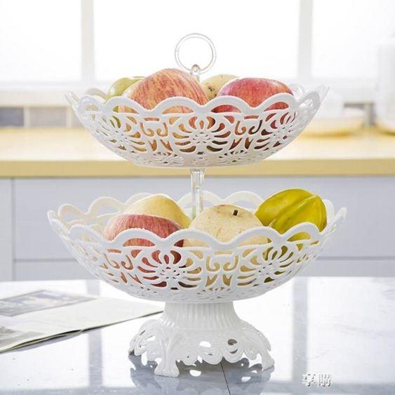 歐式塑料水果盤客廳裝水果籃創意現代籃子放糖果盆盤子家用多層盤