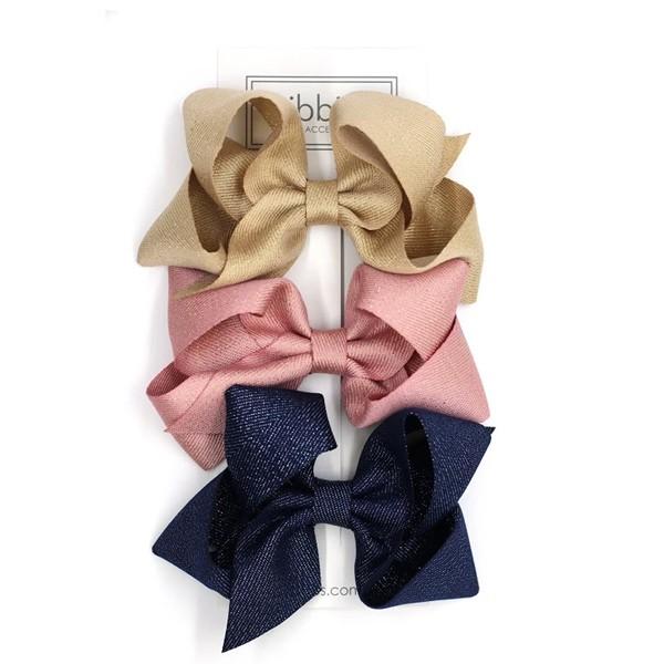 英國Ribbies 雙層大蝴蝶結3入組 -粉紅 金 海軍藍