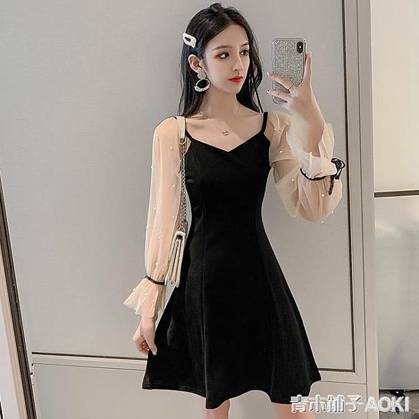 年夏季新款裙子小香風時尚網紗名媛黑色禮服洋裝夏天女裝潮 青木鋪子