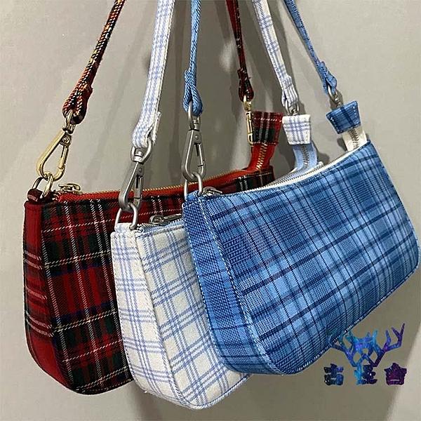 【買一送一】腋下女包手提包復古格子包白藍法棍包【古怪舍】
