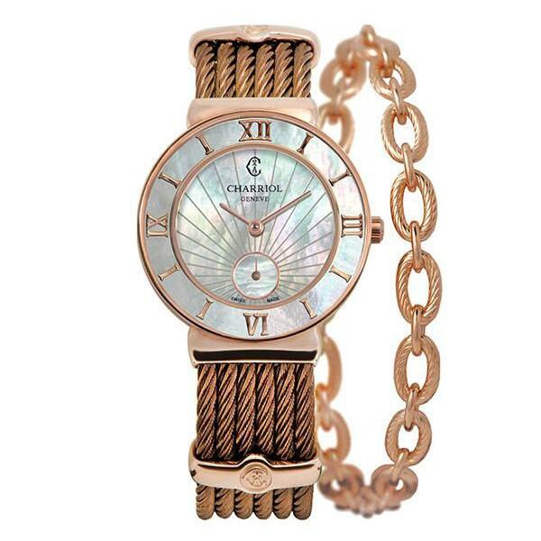 CHARRIOL 夏利豪 (ST30PI.563.010) 巧克力金太陽紋羅馬鋼索腕錶/珍珠母貝面 30mm