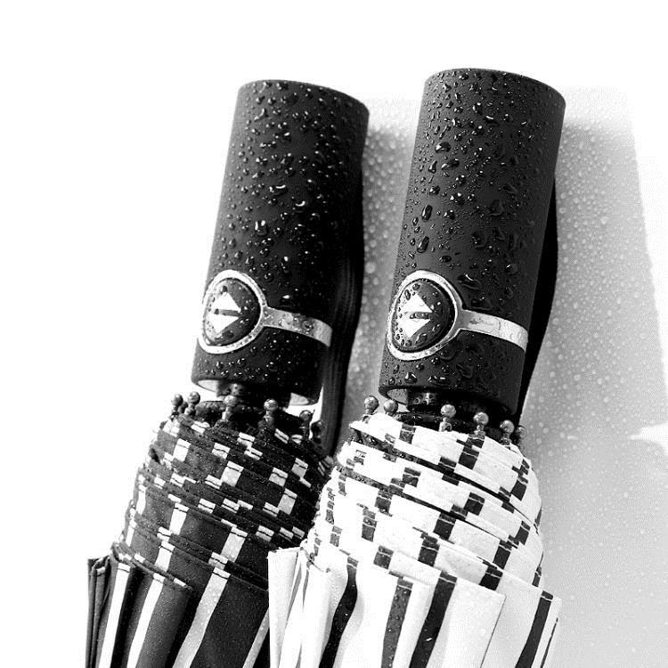 【快速出貨】十骨全自動雨傘黑膠摺疊超大號雙人三折加固防風晴雨兩用學生男女創時代3C 交換禮物 送禮