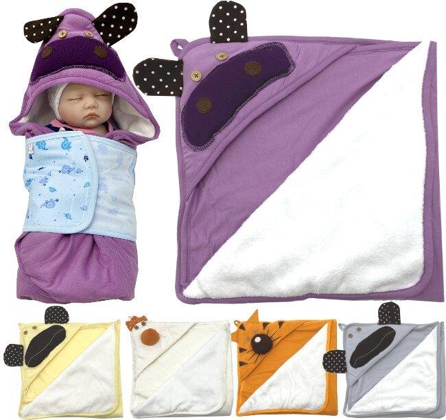 【K011】K11動物厚包巾 厚綿 雙面棉 軟綿 珊瑚絨 三角帽 護頭 包巾 柔軟 保暖 小被 嬰兒毯 彌月禮 童衣圓