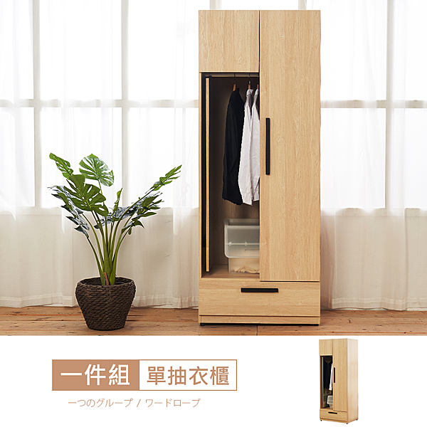 【時尚屋】[ZZ20]萩原2.5尺單門內鏡衣櫃ZZ20-271免運費/免組裝/衣櫃