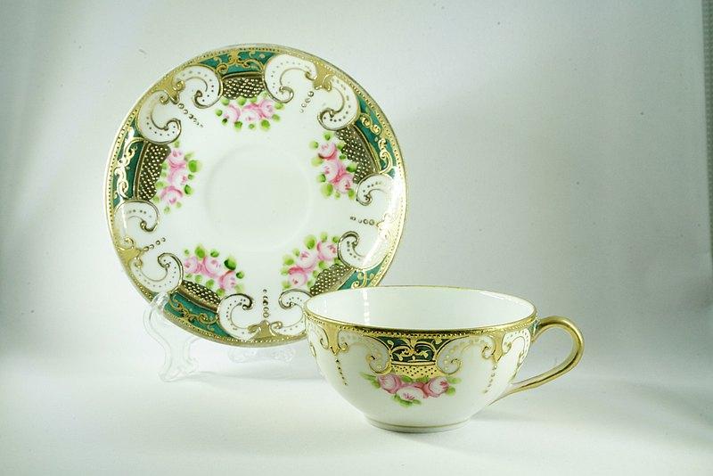 日本Noritake 燙金花茶杯