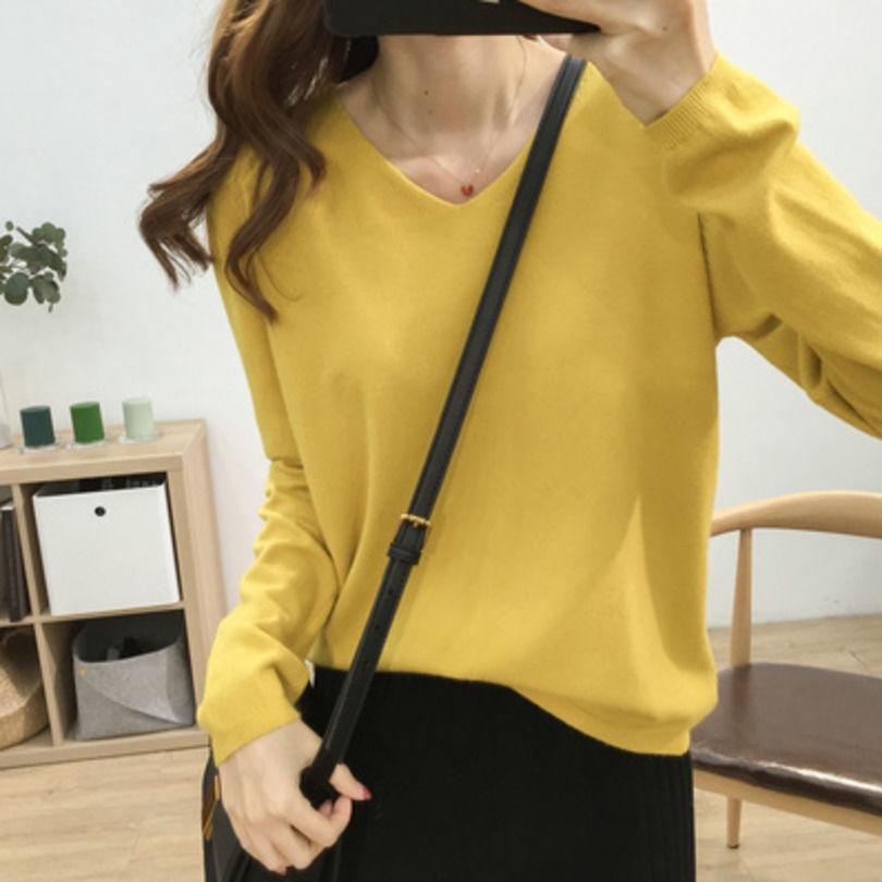 【免運】多色基礎款寬鬆顯瘦V領純色針織衫女 舒適長袖t恤打底衫百搭上衣