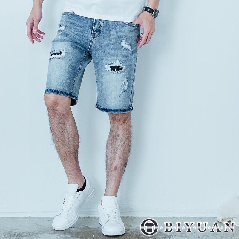 【OBIYUAN】牛仔短褲 韓國製 破褲 抽鬚 刷破 彈性 牛仔褲 共1色【BPA802】