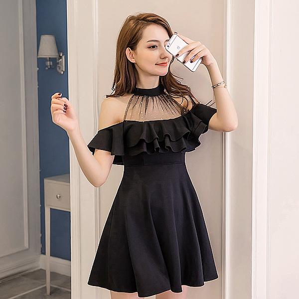 出清388 韓國風露肩削肩宴會性感網紗女夏性感掛脖短袖洋裝