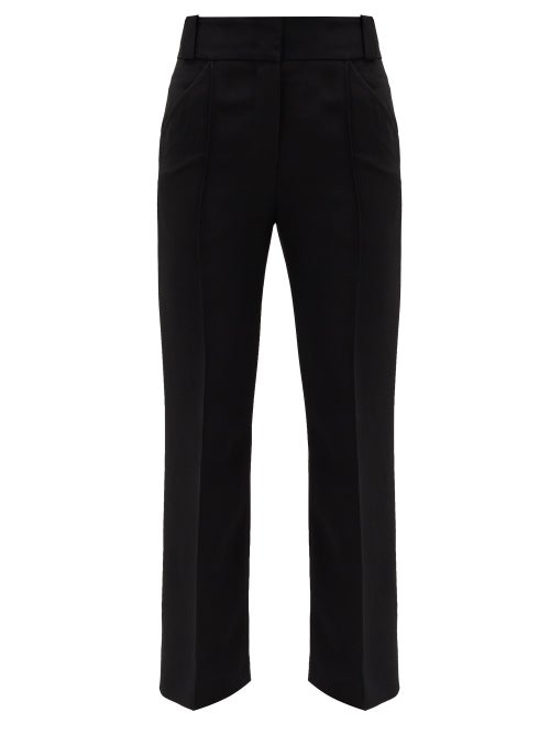 Fendi - Cropped Cady Tailored Trousers - Womens - Black