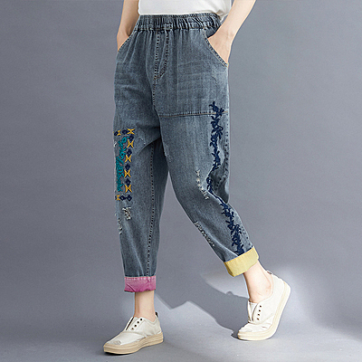 夏季做舊拼色破洞牛仔哈倫褲女松緊腰刺繡牛仔九分褲女FNA014B依佳衣