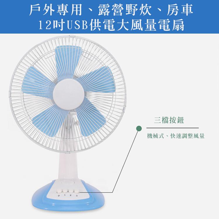 台灣現貨24h出貨usb電風扇12吋桌上型usb供電大風量電風扇支持行動電源供電