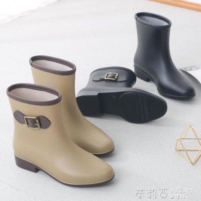 夏季雨鞋女韓國可愛時尚款外穿防滑膠鞋中筒水鞋成人短筒雨靴全館免運