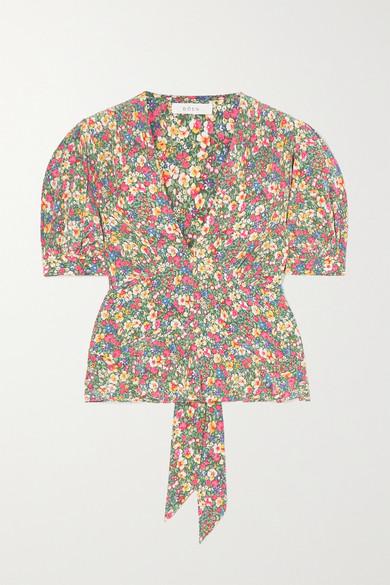 DÔEN - Yana 花卉印花真丝双绉女衫 - 绿色 - x small