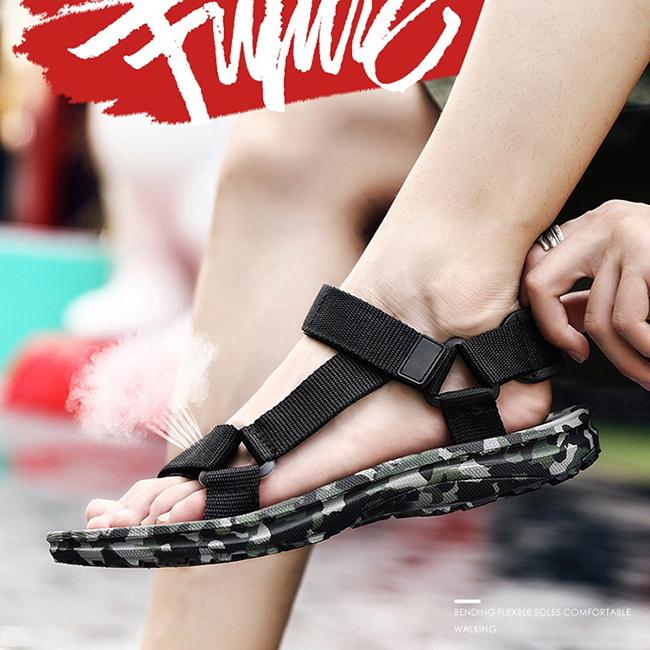 FOFU-海灘涼拖鞋舒適厚底可拆卸後跟迷彩底海灘涼拖鞋【08B-S0631】