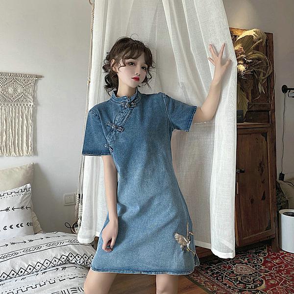 旗袍 旗袍改良版年輕款洋裝少女新款春夏季小個子溫柔風牛仔裙子 【母親節特惠】
